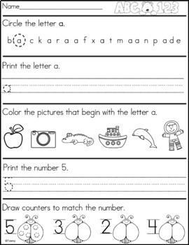 Kindergarten Morning Work - Distance Learning