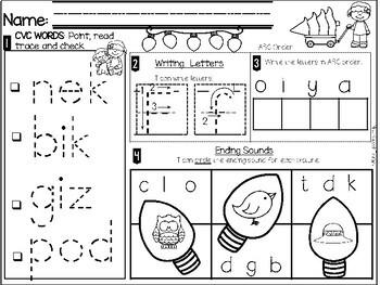 Kindergarten Morning Work-December