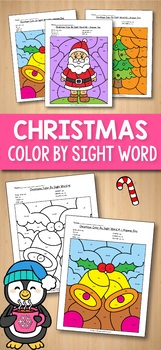 Kindergarten Morning Work December - Christmas Color By Sight Words