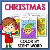 Kindergarten Morning Work December - Christmas Color By Sight Words