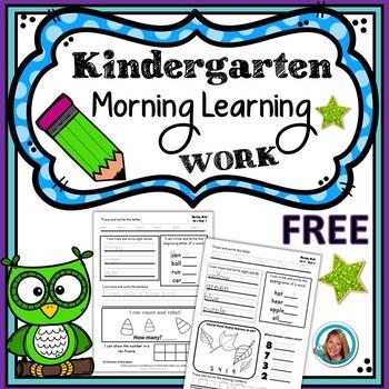 Kindergarten Morning Work - FREE