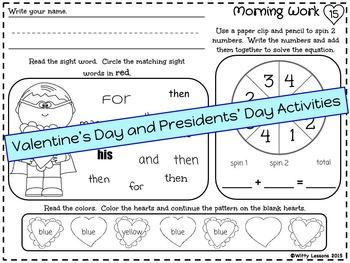 Kindergarten Morning Work: February