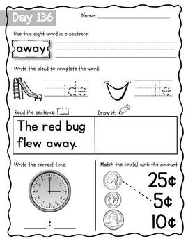 Kindergarten Morning Work {February}, Literacy & Math CCSS