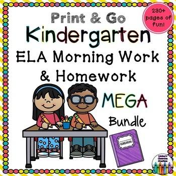 Kindergarten Morning Work / Homework - Handwriting, Sight