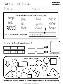 Kindergarten Morning Work April and May