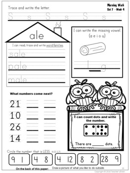 Kindergarten Morning Work February and March