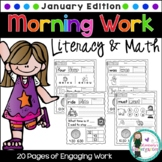 Kindergarten Morning Work {January}, Literacy & Math CCSS