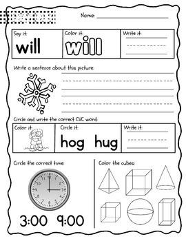Kindergarten Morning Work {January}, Literacy & Math CCSS
