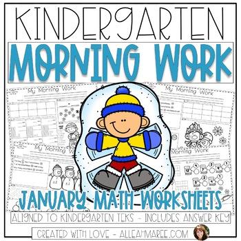 Kindergarten Daily Math Review: Morning Work, Warm-Ups, Printables {January}