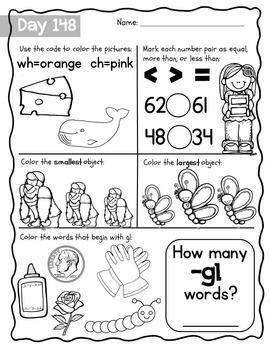 Kindergarten Morning Work {March}, Literacy & Math CCSS