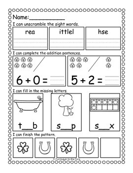 Kindergarten Morning Work ~ March and April CCSS Aligned