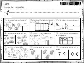Kindergarten Morning Work Math