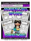 Kindergarten Morning Work - Math and Literacy - Spring Activities