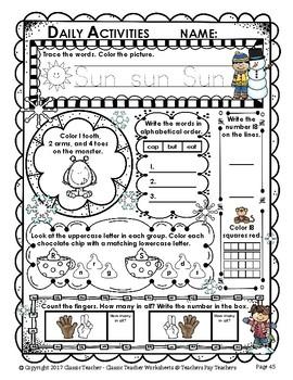 Kindergarten Morning Work - Math and Literacy - Winter