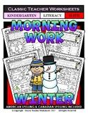 Kindergarten Morning Work - Math and Literacy - Winter Activities
