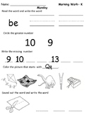 Kindergarten Morning Work Month 3