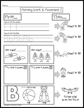 Kindergarten Morning Work & Movement - Spiral Review or Homework - Set 1