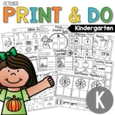 Kindergarten Morning Work NO PREP October Worksheets