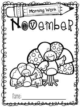 Kindergarten Morning Work - November