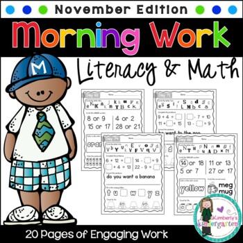 Kindergarten Morning Work {November}, Literacy & Math CCSS