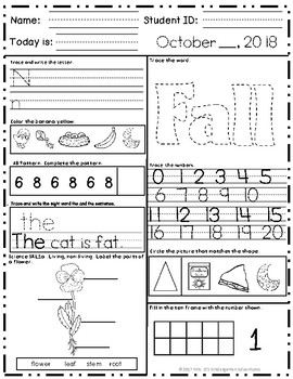 Kindergarten Morning Work - October