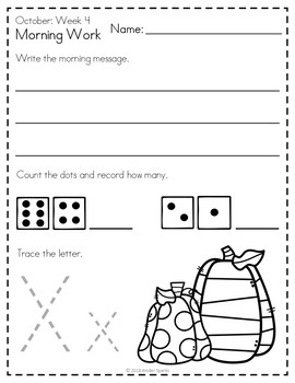 Kindergarten Morning Work- October
