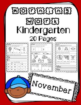 Kindergarten. Morning Work. November. Daily Work. Common Core.