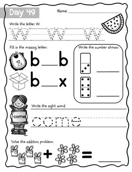 Kindergarten Morning Work {October}, Literacy & Math CCSS