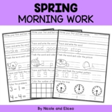 Morning Work - Spring Kindergarten Math and Literacy