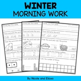 Morning Work - Winter Kindergarten Math and Literacy