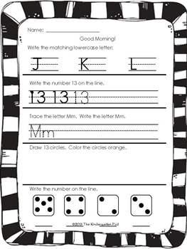 Kindergarten Morning Work - Part 1