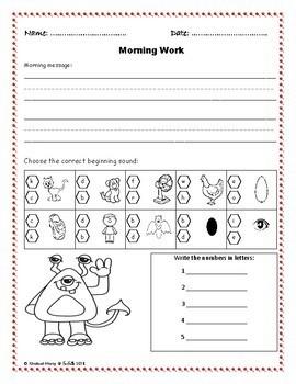 Kindergarten Morning Work Part 1 September