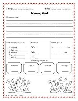 Kindergarten Morning Work Part 3 January