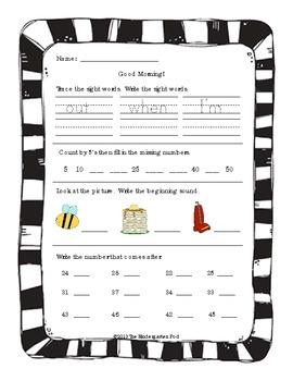 Kindergarten Morning Work - Part II