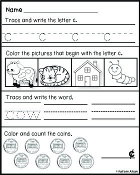 Kindergarten Morning Work Practice with Letters and Numbers