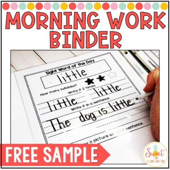 Kindergarten Morning Work Sample Freebie