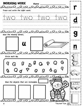 Kindergarten Morning Work: Second 8 Weeks