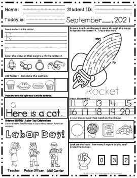 Kindergarten Morning Work - September