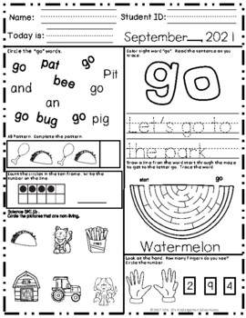 Kindergarten Morning Work - September