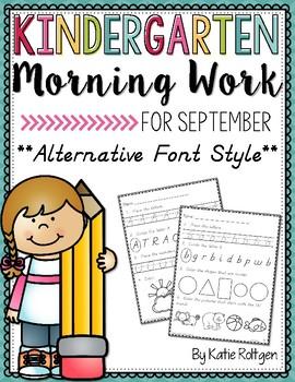 Kindergarten Morning Work - September {D'Nealian-Style}
