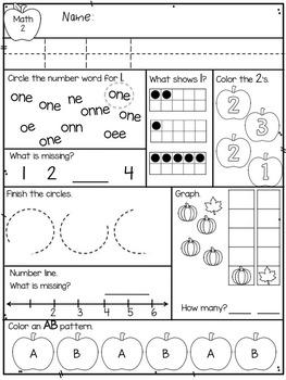 september kindergarten morning work math literacy by violet tabitha. Black Bedroom Furniture Sets. Home Design Ideas