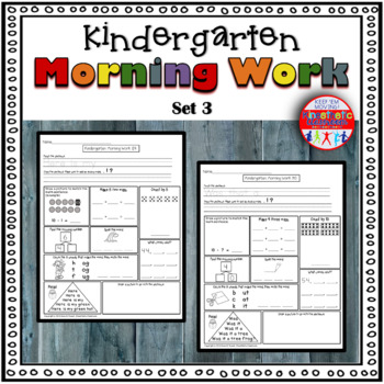 Kindergarten Morning Work - Spiral Review or Homework - Set 3