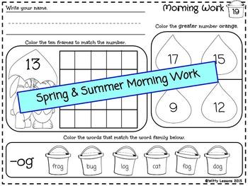 Kindergarten Morning Work: Spring and Summer
