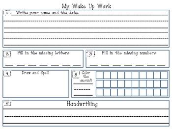Kindergarten Morning Work Template