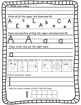 Kindergarten Morning Work Unit 1 (First nine weeks) **100% Common Core