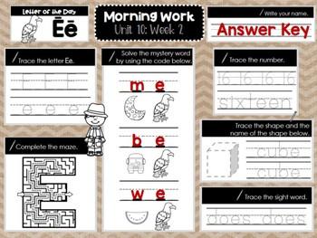 Kindergarten Morning Work (Unit 10, Week 2)