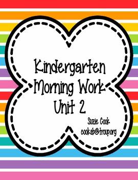 Kindergarten Morning Work Unit 2 **FREEBIE PREVIEW**