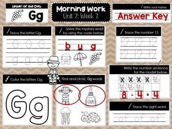 Kindergarten Morning Work (Unit 7, Week 2)