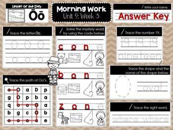 Kindergarten Morning Work (Unit 9, Week 3)