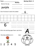 Kindergarten Morning Work- Week 1